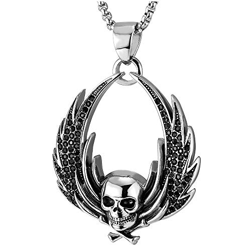 (COOLSTEELANDBEYOND Mens Women Steel Angel Wing Pirate Skull Pendant Necklace Black CZ, Gothic Style, 30 in Wheat Chain )