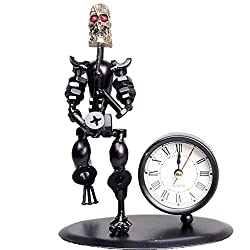2 in 1 Balck Iron Art Nut And Bolt Skull Music Man Figure Elegant Unique Western Style Clock Watch ~Home Office Desk Decor Gift (Saxophone)