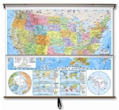 US/World Advanced Political Classroom Combo Map on Roller w/ Brackets