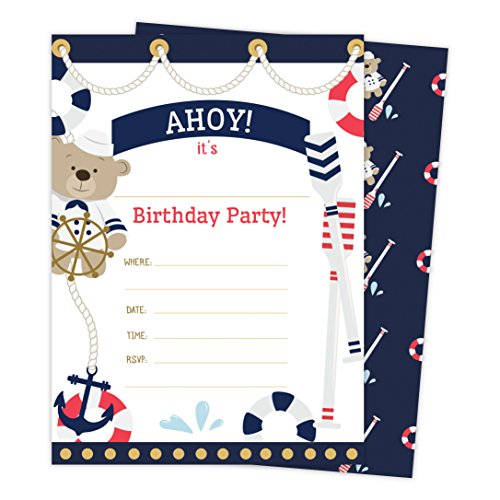 Nautical Happy Birthday Invitations Invite Cards (25 Count) with Envelopes & Seal Stickers Boys Girls Kids Party (25ct)