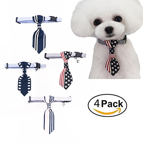 SIMPLEST LIFE US Flag Dog Cat Collar with Bells Charms Breakaway Necktie Bow Tie for Small Puppy Party Accessories or Daily Wear Pack of 4 by SIMPLEST LIFE