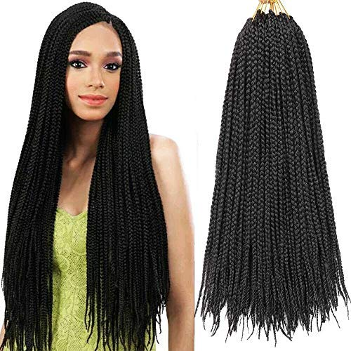 7 Packs 18 Inch Box Braids Crochet Braids 3X Box Braid Crochet Hair Extension 20 Strands/Pack (18