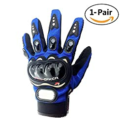 Advanced Fabric Hard Knuckle Gloves Indoor Cycling Gloves Full Fingers Motorcycle Gloves Combat Gloves Paintball Gloves Shooting Gloves Tactical Gloves For Men Women Kids Youth,1 Pair(blue)