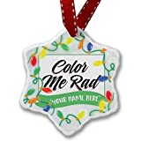 Personalized Name Christmas Ornament, Vintage Lettering Color Me Rad NEONBLOND offers
