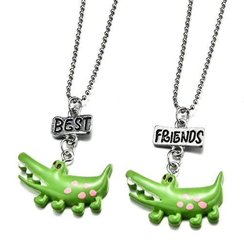 Cute Bestfriend Costumes (Pibupibu 2 Packs Best Friends Kids Children Resin Pendant Necklace (Crocodile))