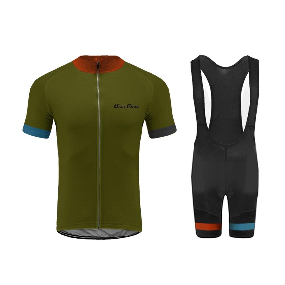 Set Moda Maglia Ciclismo Jerseys per Uomo Corta Manica Tuta Estivo Uglyfrog Pantaloni Corti di Ciclismo Abbigliamento Ciclismo Sportivo Professionale Traspirazione Comodo