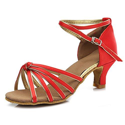 Modell Damen Satin Rot Dance Standard Ausgestelltes Absatz Tanzschuhe Ballsaal 5cm Schuhe Latin D217 7 SWDZM RfwzqBw