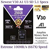 Amplim 256GB Micro SD Card Plus SD Adapter. 256 GB MicroSDXC Card (100MB/s V30 A1 U3 Class 10 UHS-I Pro TF) 256g SDXC Flash Memory Storage for Nintendo, GoPro, Cell Phone, Tablet, Camera