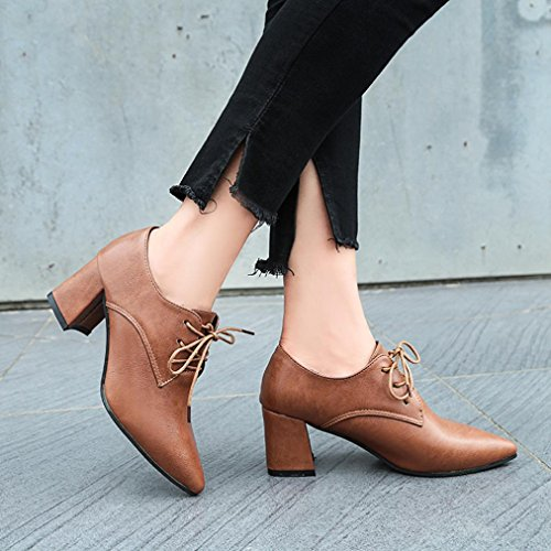 Colorful TM Fashion Womens Pumps Lace-Up High Heels Shoes High Block Heel Ankle Biker Boots Shoes Brown qr49vGZX