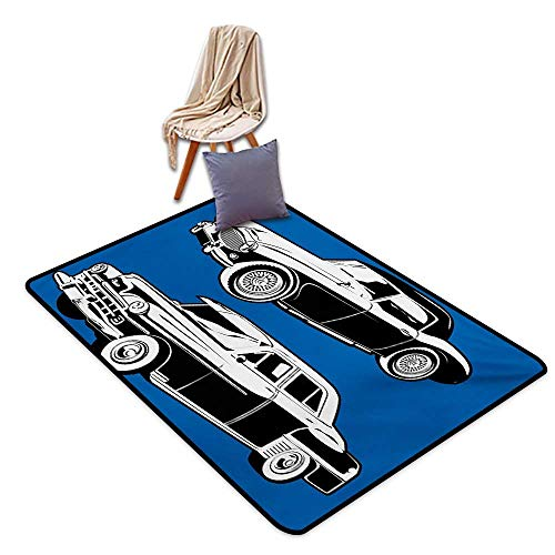 - Cars Latex Backing Non Slip Door Mat Black and White Vintage Cars on Navy Blue Backdrop Classic Old Vehicles Water Absorption, Anti-Skid and Oil Proof 48
