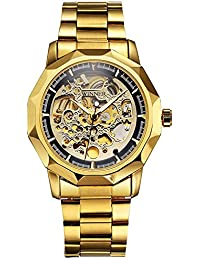 Gold Watch Unisex Automatic Self Wind Watch Stainless Steel Band Waterproof Skeleton Watches (Gold Black