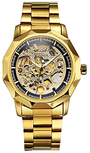 Gold Watch Unisex Automatic Self Wind Watch Stainless Steel Band Waterproof Skeleton Watches (Gold Black)