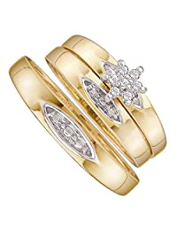10kt Yellow Gold His & Hers Round Diamond Cluster Matching Bridal Wedding Ring Band Set 1/12 Cttw