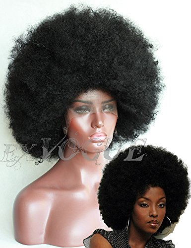 Exvogue Synthetic Black Big African Kinky Curly Afro Wig for Women Lace Front Fiber Hair Wigs #1B -