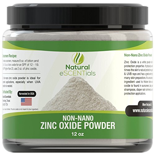 (Natural Zinc Oxide Powder - Non Nano and Uncoated - Baby Safe, Cosmetic Grade Fine Powder - FREE: Recipe)