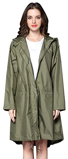 2731e36fed1 THOMAS HOME Women s Packable Waterproof Rain Jacket Outdoor Raincoat  ArmyGreen M