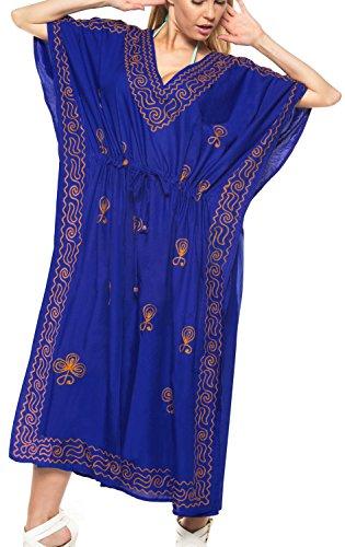 LA LEELA Women's Plus Size Loose Caftan Beach Casual Dress US 14-18W Blue_T337]()