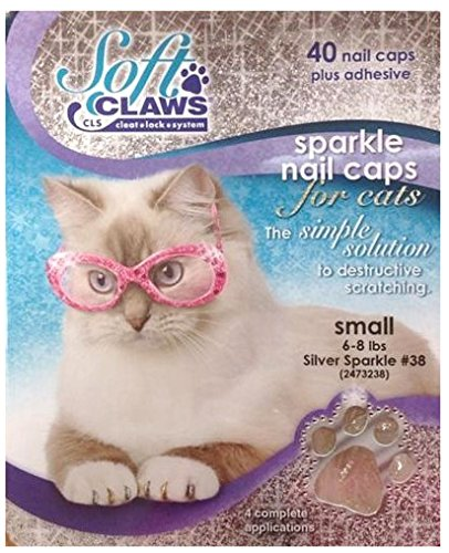 Feline Soft Claw Nail Caps, Small, Silver Sparkle