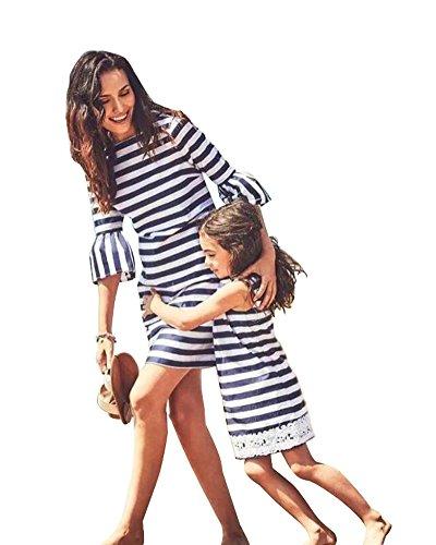 A Tarde Niña Rayas Vestido Madre Partido Manga Cuello Verano E Mujer Hija Familia De Corta Dress Redondo Minetom Azul Fiesta UqwPw