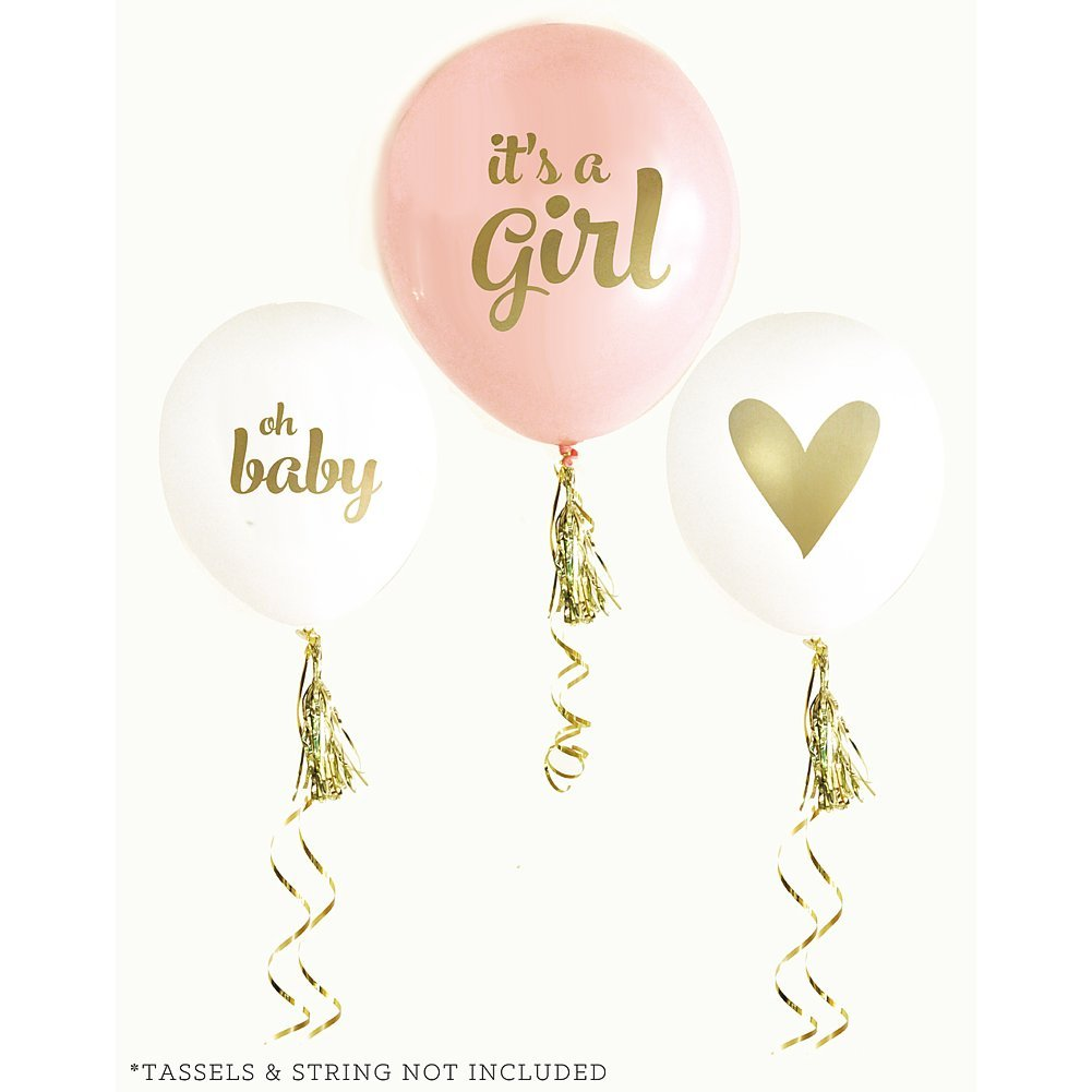 amazon com gold girl baby shower balloons set of 3 everything else