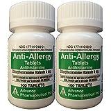 Anti-Allergy Antihistamine Chlorpheniramine Maleate 4 mg Generic for Chlor-Trimeton Allergy 100 Tablets per Bottle 2 PACK Total 200 tablets