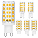 (US) BALDER Dimmable G9 LED Bulb 6W, 60W Halogen Bulb Replacement, Warm White 3000K, Bi Pin,6-Pack