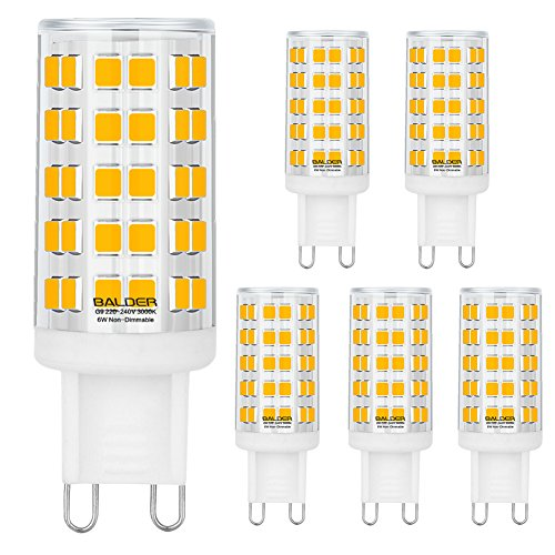 BALDER Dimmable G9 6W LED Bulb, 60W Halogen Bulb Replacement, Warm White 3000K, Bi Pin,6-Pack