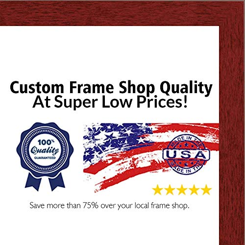Poster Palooza 11x15 Traditional Cherry Complete Wood Picture Frame with UV Acrylic, Foam Board Backing, Hardware