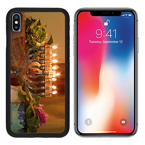 MSD Premium Apple iPhone X Aluminum Backplate Bumper Snap Case IMAGE ID: 912462 Golden Hanukkah menorah - Brass Traditional Menorah