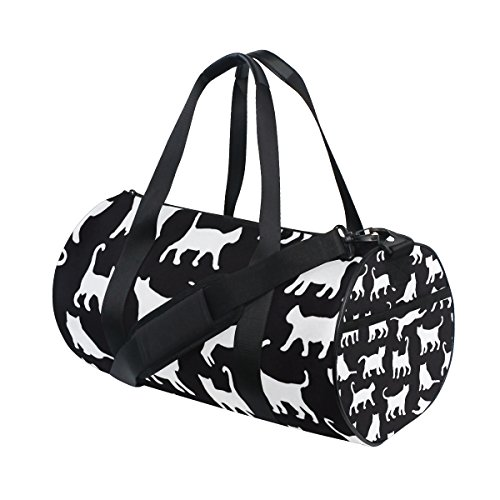 AHOMY Cat Black And White Fashion Sports Gym Bag Travel Duffel Bag for Men and Women