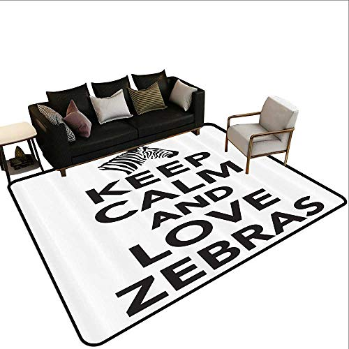 Kids Rugs Zebra Print Decor Collection Keep Calm and Love Zebras Lettering with Zebra Head Pattern Silhouette Rustic Home Decor4'7 x6'6 Black ()