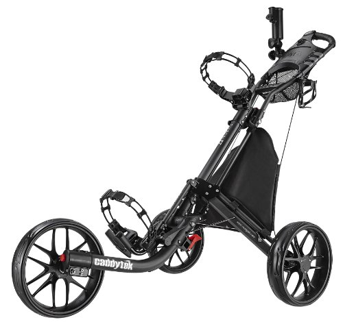 CaddyTek EZ-Fold 3 Wheel Golf Push Cart, Dark Grey (Golf Club Caddy)
