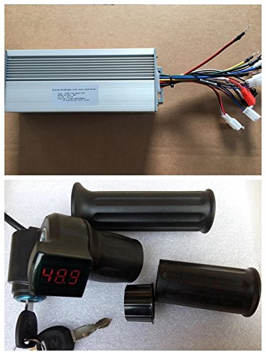 48V/72V 60A Brushless Sine Wave Controller , Twist Throttle with LED voltage display and Electric Switch , for 2000-3000W E-bike Hub Motor Controller , Electric Bicycle conversion Kit, 3000W Ebike kit