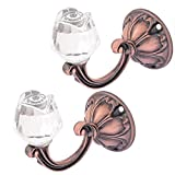 uxcell Crystal Rose Curtain Drapery Tie Back Wall Hook Copper Tone 2Pcs