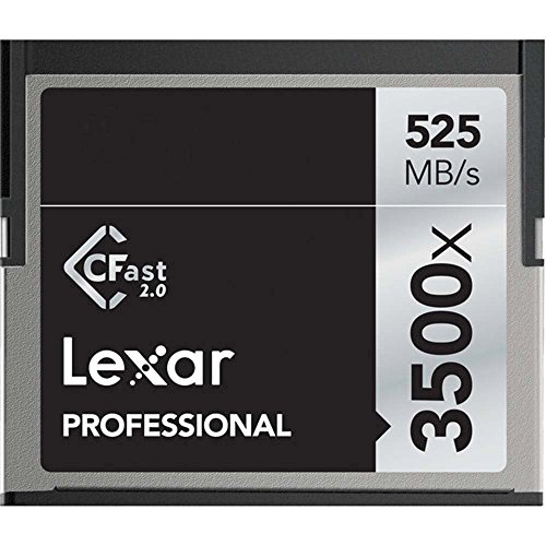 (Lexar 64GB Professional 3500x CFast 2.0 Memory Card for 4K Video Cameras, Up to 525MB/s Read, Up to 445MB/s Write Speed)
