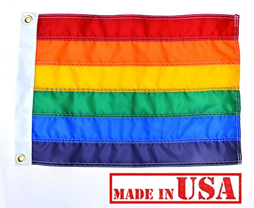 US Flag Factory - Rainbow Flag (Individually Sewn Stripes) Outdoor SolarMax Nylon - Premium Quality - Made in USA - Gay Pride Lesbian LGBT (12x18 Inch) ()