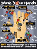 "Wash Your Hands 18"" x 24"" Laminated Poster - Step-by-Step Hand Washing Instructions for Elementary and Middle School Students."