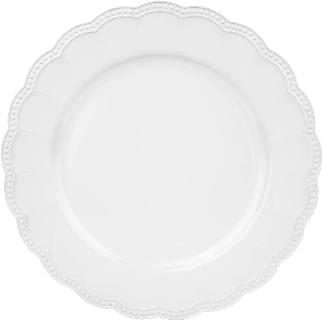 """Koyal Wholesale 13"""" Matte White Beaded Scallop Charger Plates, Bulk Set of 4 Acrylic Plastic Charger Plates, Table Setting, Tabletop, Tablescape for Wedding, Holidays, Events, Home Decor"""