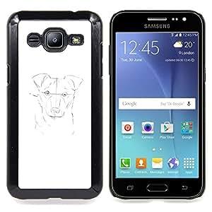 For Samsung Galaxy J2 - Dog Painting White Pencil Sketch Drawing /Modelo de la piel protectora de la cubierta del caso/ - Super Marley Shop -