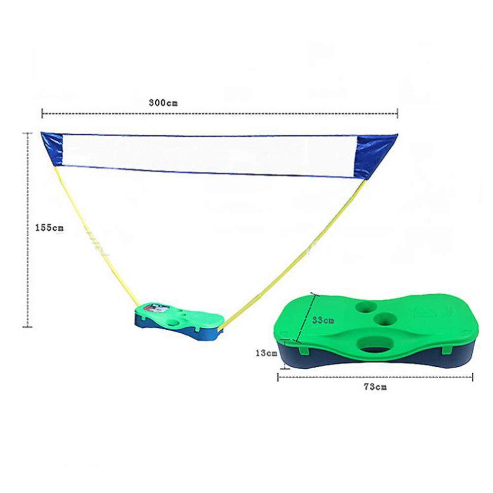 Portzon Portable Badminton Net Set, Tennis Volleyball Outdoor Backyard Folding Easy with 2 Rackets and 2 Shuttlecocks Carry Box (Green) by Portzon (Image #1)