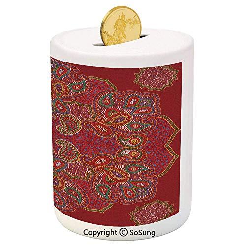 (SoSung Red Mandala Ceramic Piggy Bank,Moroccan Persian Design Oriental Rectangular Paisley Floral Print Decorative 3D Printed Ceramic Coin Bank Money Box for Kids & Adults,Burngundy Blue and White)