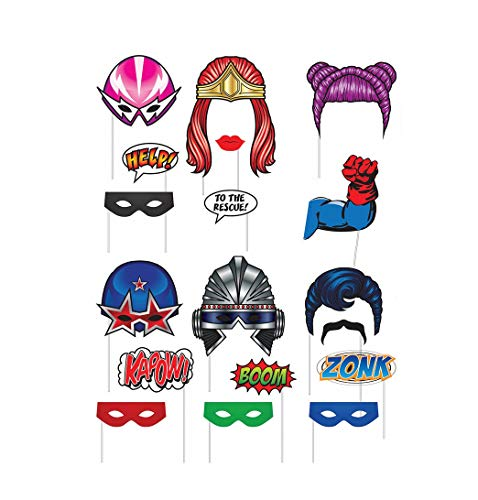 Superhero Themed Party Photo Booth Props Decor- 18 Pc Kit -