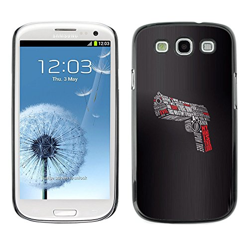 STPlus English Quotes Words Gun Pistol Hard Cover Case for Samsung Galaxy S3