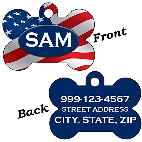 American Pet Tags - USA Flag Patriotic Double Sided Pet Id Dog Tag Personalized w/ 4 Lines of Text