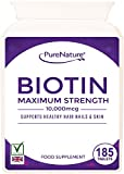 Biotin Hair Growth Stronger & Thicker Hair 185 Tablets (Full 6 Month Supply) 10,000mcg Double Strength Vitamin B7 Easy to Swallow For Hair Loss & Supports the Growth & Maintenance of Healthy Hair Nails & Skin for Women and Men. PureNature Rated 'BEST BUY' as Featured in the Telegraph Health Clinic Magazine-100% Quality Assured Money Back Guarantee-FREE UK DELIVERY