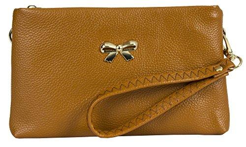 Big Handbag Shop - Cartera de mano con asa de piel sintética para mujer Style 1 - Tan