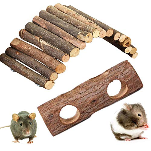 (kathson Wooden Ladder Hamster Chew Bridge Toy,Syrian Hamster ramp Forest Hollow Tree Trunk Tunnel Tube Toy for Chinchillas Guinea Pigs Dwarf Mouse Rat mice Small Animal Chew Toy (2Pack))