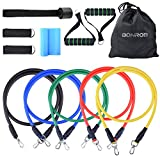 BONROB Resistance Band Set - Include 5 Stackable Exercise Bands with Waterproof Carrying Case, Door Anchor Attachment, Legs Ankle Straps and Exercise Guide Ebook - 100% Life Time Guarantee BC007