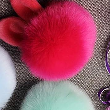 Nowbetter Porte-cl/és en Forme de Pompon Moelleux avec Pendentif Boule de Cheveux pour Porte-cl/és de Voiture 8CM Red