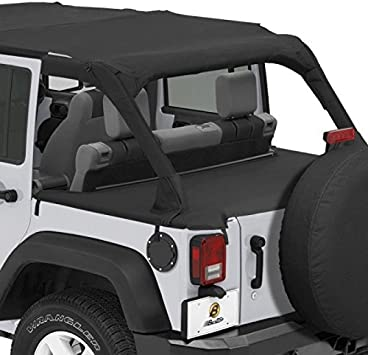 Bestop 90031-35 Black Diamond Duster Deck Cover for 07-12 Wrangler Unlimited with Factory Soft top Hardware Removed